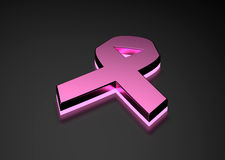 Pink ribbon glowing bottom Royalty Free Stock Image