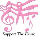 Pink ribbon music Royalty Free Stock Images