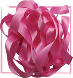 Pink ribbon over white background, design element. Stock Image