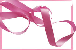 Pink ribbon over white background, design element. Royalty Free Stock Photos