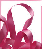 Pink ribbon over white background, design element. Royalty Free Stock Image