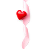 Pink ribbon with red heart Stock Images