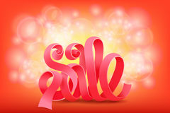 Pink ribbon sale title on shiny background Royalty Free Stock Photography