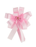 Pink ribbon satin gift bow Stock Photography