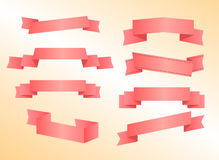 Pink Ribbon Set Stock Image