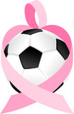 Pink Ribbon Soccer Ball or Football Heart Royalty Free Stock Images