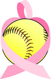 Pink Ribbon Softball Heart Stock Image