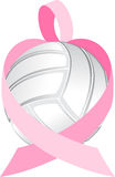 Pink Ribbon Volleyball Heart Stock Image