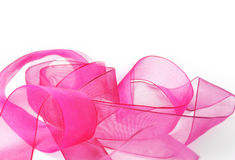Pink ribbon waves. Isolated on white background stock photo