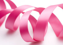 Pink Ribbon on White Stock Image