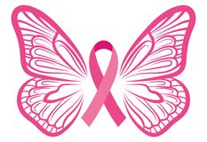 Free Pink Ribbon With Butterfly Wings. Breast Cancer Awareness Ribbon. Vector Illustration For Breast Health. Stock Photos - 158935633