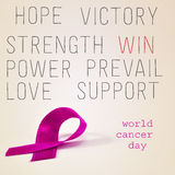 Pink ribbon for the world cancer day Royalty Free Stock Photo