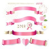 Pink ribbons and banners set wedding day. Pink and gold ribbons banners and bow tie, heart, ribbon bow, ribbon label, set for Spring holiday Mother`s Day, Women` Royalty Free Illustration