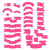 Pink ribbons, big set of hand drawn design element, flag, arrow, banner, label  on white Royalty Free Stock Photography