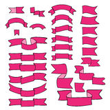 Pink ribbons, big set of hand drawn design element, flag, arrow, banner, label  on white Royalty Free Stock Photos