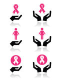 Pink ribbons - breast cancer awareness with hands icons set Stock Photos
