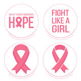 Pink ribbons for breast cancer awareness. Vector set of pink ribbons symbols and badges for breast cancer awareness Royalty Free Stock Image