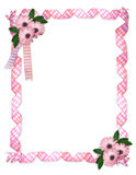 Pink ribbons daisy border royalty free stock photos