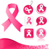 Pink Ribbons Kit for Breast Cancer Awareness Royalty Free Stock Photography