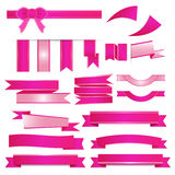 Pink ribbons set  on white background. Illustrator 10 Stock Photo