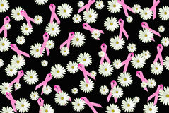 Pink ribbons and white daisies Stock Photo