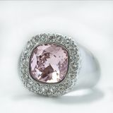 Pink ring. White gold ring with pink and white diamonds Royalty Free Stock Photo