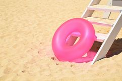 Pink ring in stairway Royalty Free Stock Image