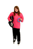 Pink Ringette Player. Girl with ringette equipmant for winter ice sport Stock Images