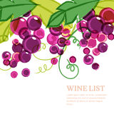 Pink Ripe Grape Vine With Green Leaves. Abstract Vector Watercol Royalty Free Stock Images