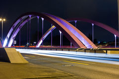 Pink Road Bridge at Night Royalty Free Stock Image