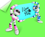 Pink robot and a blue robot is holding a big board. Create 3D Hu Stock Images