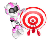 Pink Robot Character holding a Big Dart board. Create 3D Humanoi Royalty Free Stock Photography