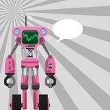 Pink Robot with Pincers on Arms and Wheels on Legs Stock Photography