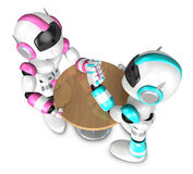 The pink robots and sky blue robot arm wrestling showdown. Creat Royalty Free Stock Photography
