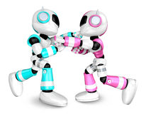 The pink robots and sky blue robot boxing matches. Create 3D Hum Royalty Free Stock Photos