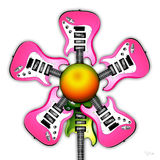 Pink Rock Guitar Flower. Illustrated pink Rock Guitars in the shape of a flower, with the green guitar as the stem, Isolated on a white vector illustration