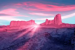 Pink rocks in the desert against a beautiful blue sky with clouds. Rays of pink light. Alien planet concept. Iranian desert.  Royalty Free Stock Photography