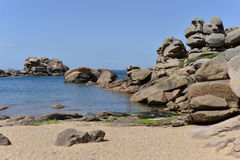 Pink rocks of Ploumanac'h in France Royalty Free Stock Photography