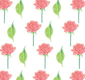 Pink rode and leaves seamless wallpaper background stationery wrapping paper. Roses with fresh green leaves seamless stripe on a white background Royalty Free Stock Photo