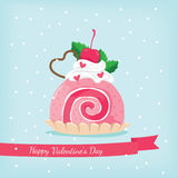 Pink roll cake  with strawberry in happy valentine`s day Royalty Free Stock Images
