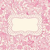 Pink romantic amazing card with flowers. Invitation card with space for your text Royalty Free Stock Photos