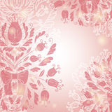 Pink romantic background. Vector romantic background with flowers and leaf Stock Image
