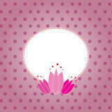 Pink romantic background & frame. Vector pink background - tulips & frame Stock Image