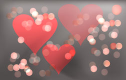 Pink romantic background for Valentines day with hearts and circles of Boke. Royalty Free Stock Images
