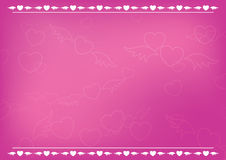 Pink romantic card with hearts - vector Stock Images