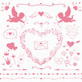 Pink romantic decorations, hearts, cupids and frames Stock Photo
