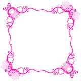 Pink Romantic Frame Lace Border. Valentines or mothers day border frame in pink color with hearts and lace around the edge Royalty Free Stock Photos