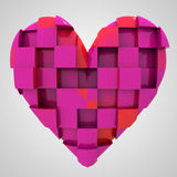 Pink romantic heart cubic composition Stock Images