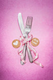 Pink romantic table place setting with sign decoration and message for you and heart , top view Stock Images