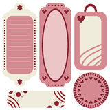 Pink romantic tag or label collection Royalty Free Stock Photos